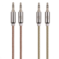 New Metal Head Audio Jack 3.5mm Male To Male Audio Aux Cable