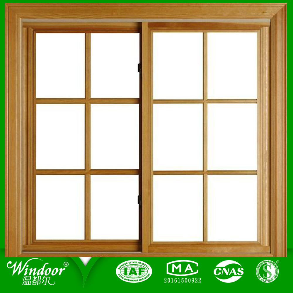 Wood Grain Aluminum Window With Grill Design
