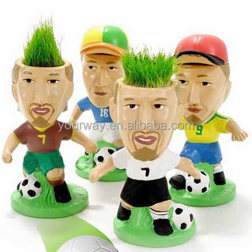 Growing football star grass head,grass toy