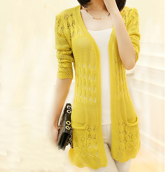 Autumnspringcardigan Fancy Pointelle Knit Woman Sweater Buy