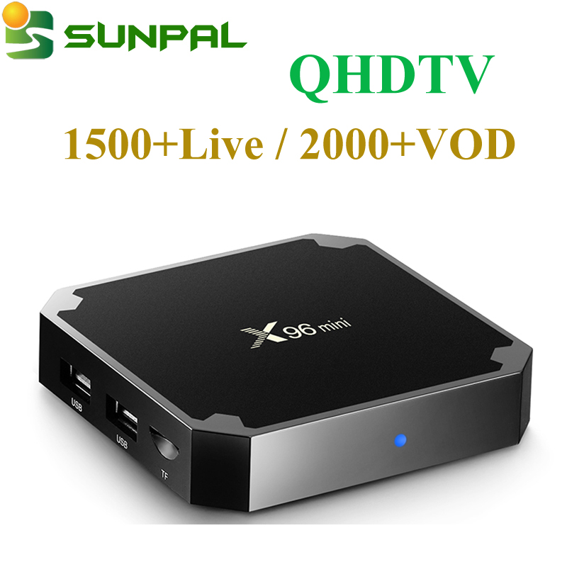 Arabic IPTV Box with 1 Year QHDTV Subscription IPTV Channels 4K IPTV Satellite Receiver with Android 7.1 TV Box X96MINI