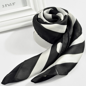 Fashion Women 70*70 cm stripe floral polyester silk feel Printed square hijab scarf