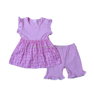 Baby Pink Princess Small Flower Prints Princess Boutique Shorts Design Summer Outfits Bulk Wholesale Kids Outfits.