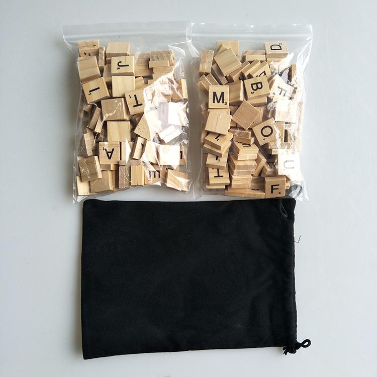 Standard Edition game Black Velveteen w//Drawstring Scrabble Tile Bag