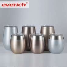 Everich Eco Friendly Double Wall 304 Kids Stainless Steel Tumbler Cups/Stemless Mugs for Red Wine Beer Keep Ice
