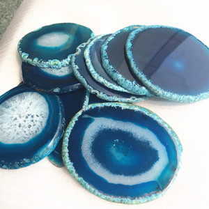 Wholesale natural agate slices Blue agate coaster