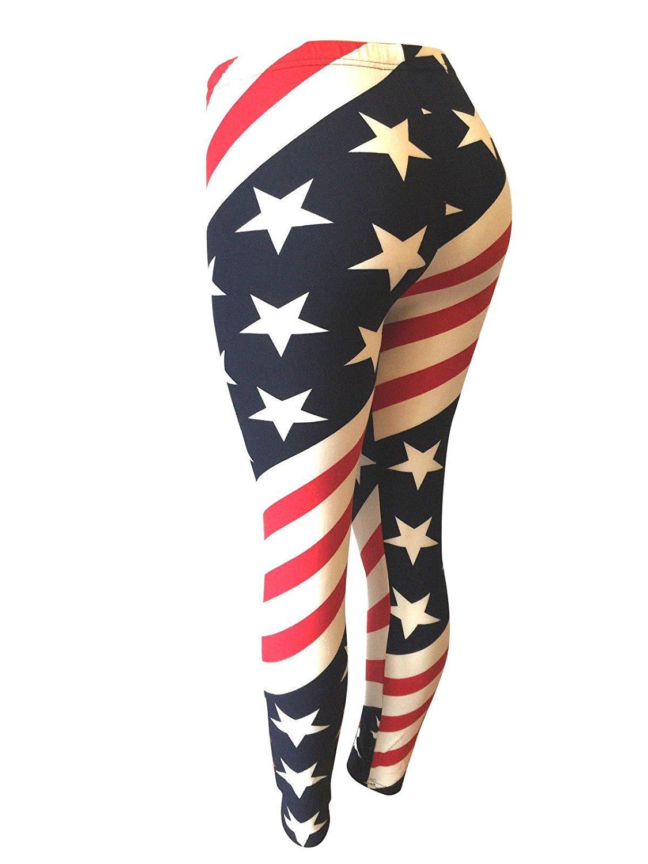 9eee0adb392f Get Quotations · NY GOLDEN FASHION Women American Flag Leggings USA Flag  Patriotic Soft Strenchy Leggings Pants