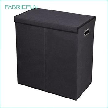pliable tissu double panier linge 2 compartiments trieur de linge avec couvercle magn tique. Black Bedroom Furniture Sets. Home Design Ideas
