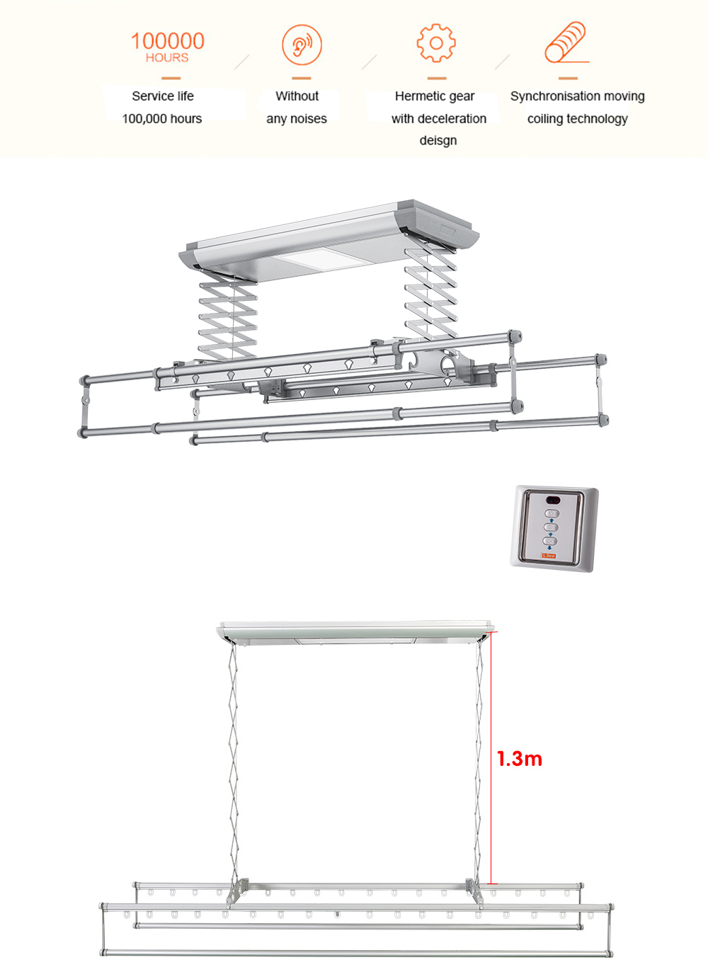 ceiling laundry rack lifting height is 1.3 m