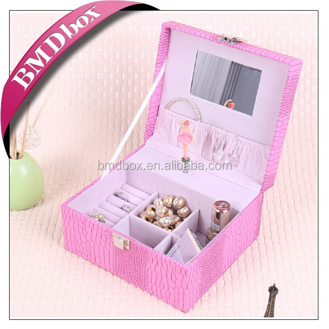 multicolor leather jewelry mirror music box with a dancing ballerina