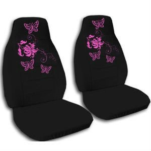 2 Black Butterfly Car Seat Covers