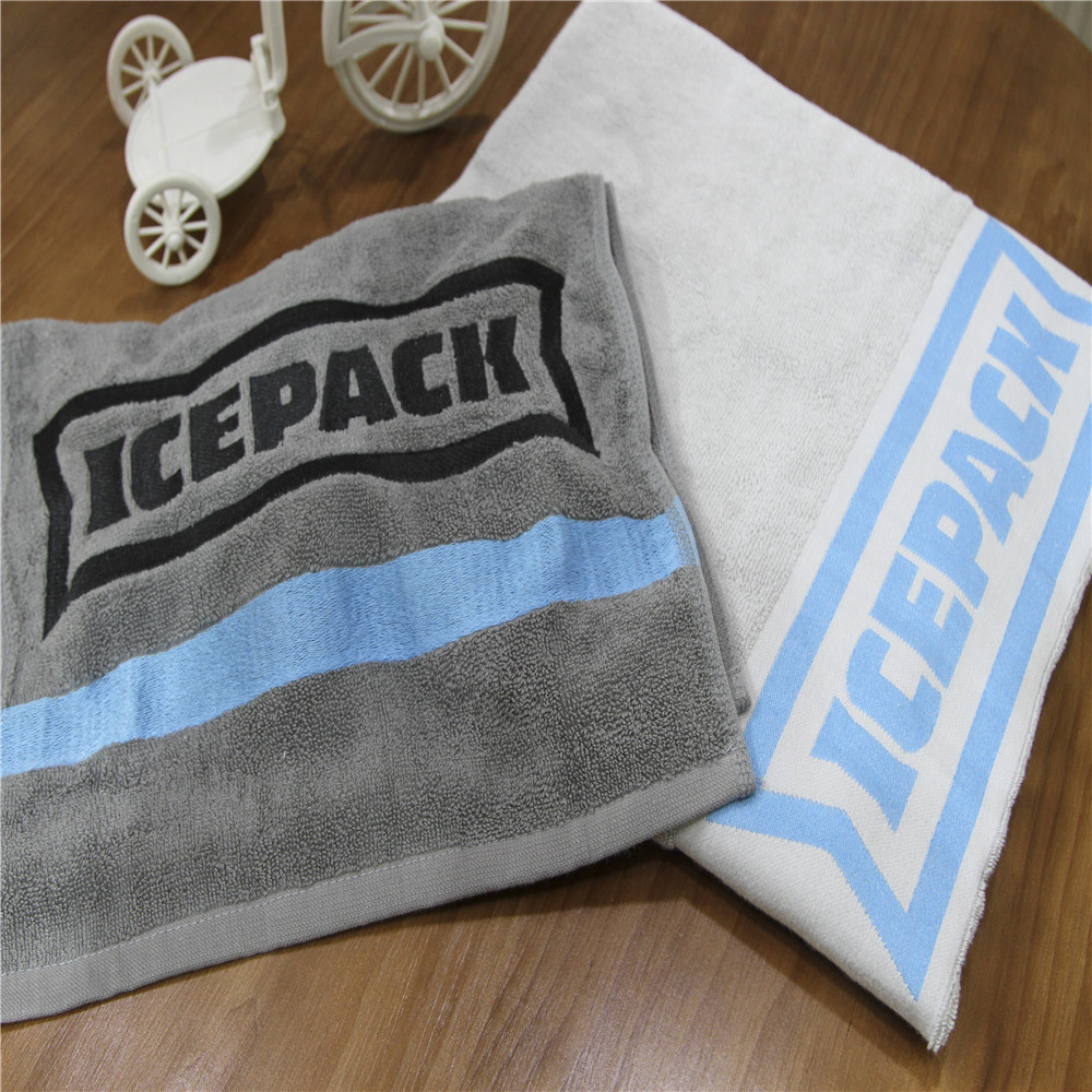China factory 100% cotton velour reactive printed custom logo promotional beach towel with pes stripe