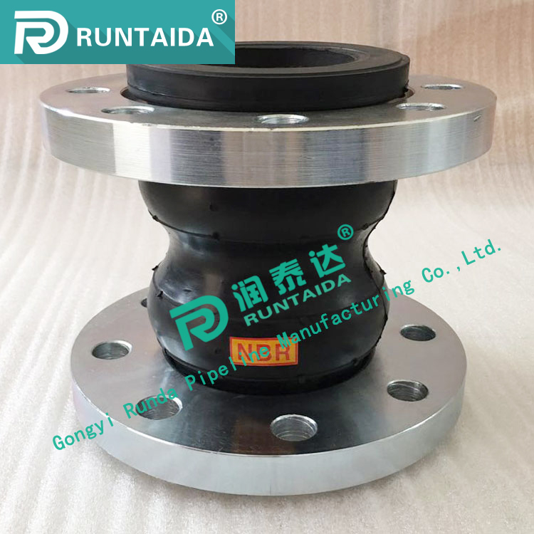 High quality flanged double sphere rubber joint with metal ring