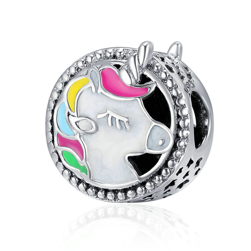 Wholesale Fit DIY Jewelry Bracelet Colorful Enamel Licorne Bead Charm 925 Sterling <strong>Silver</strong>