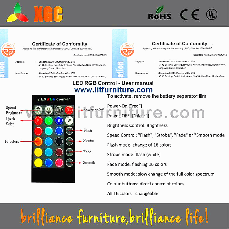 fair price furniture with waterproof RGB LED lights GF115
