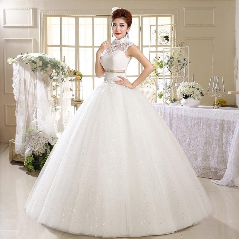 2015 Retro Sleeveless Princess White Lace Standing Collar Bridal ...