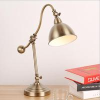 Vintage Bronze Iron Table Lamp Energy Saving Metal Table Light for Reading Room Study Desk Lights Modern Led Desk Lamp