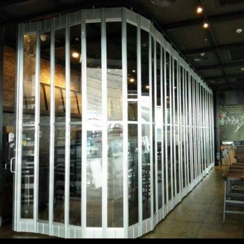Commercial Aluminum Polycarbonate Transparent Security Shop Front Door Siding Folding Accordion Screen Doors