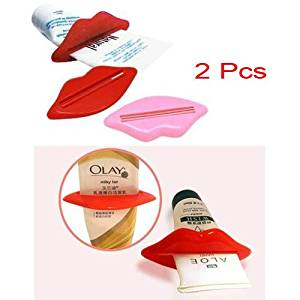 2 Pcs Practical Toothpaste Squeezer Tube Dispenser with Mouth Lip Shape-Red and pink