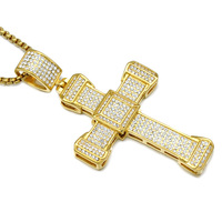 Mens Classic 18K Real Gold Plated Cross Hip Hop Crystal Pendant Necklace