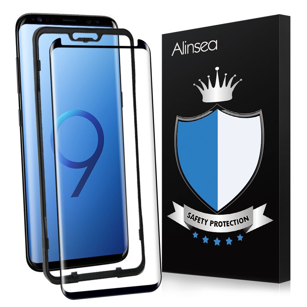 Galaxy S9 Screen Protector, Alinsea Galaxy S9 Tempered Glass [3D Glass] Curved Edge [Case Friendly] [Sensitive Response] [Anti-Scratch] [No Lifted Edges] Ultra Thin for Samsung Galaxy S9 [Updated Vers