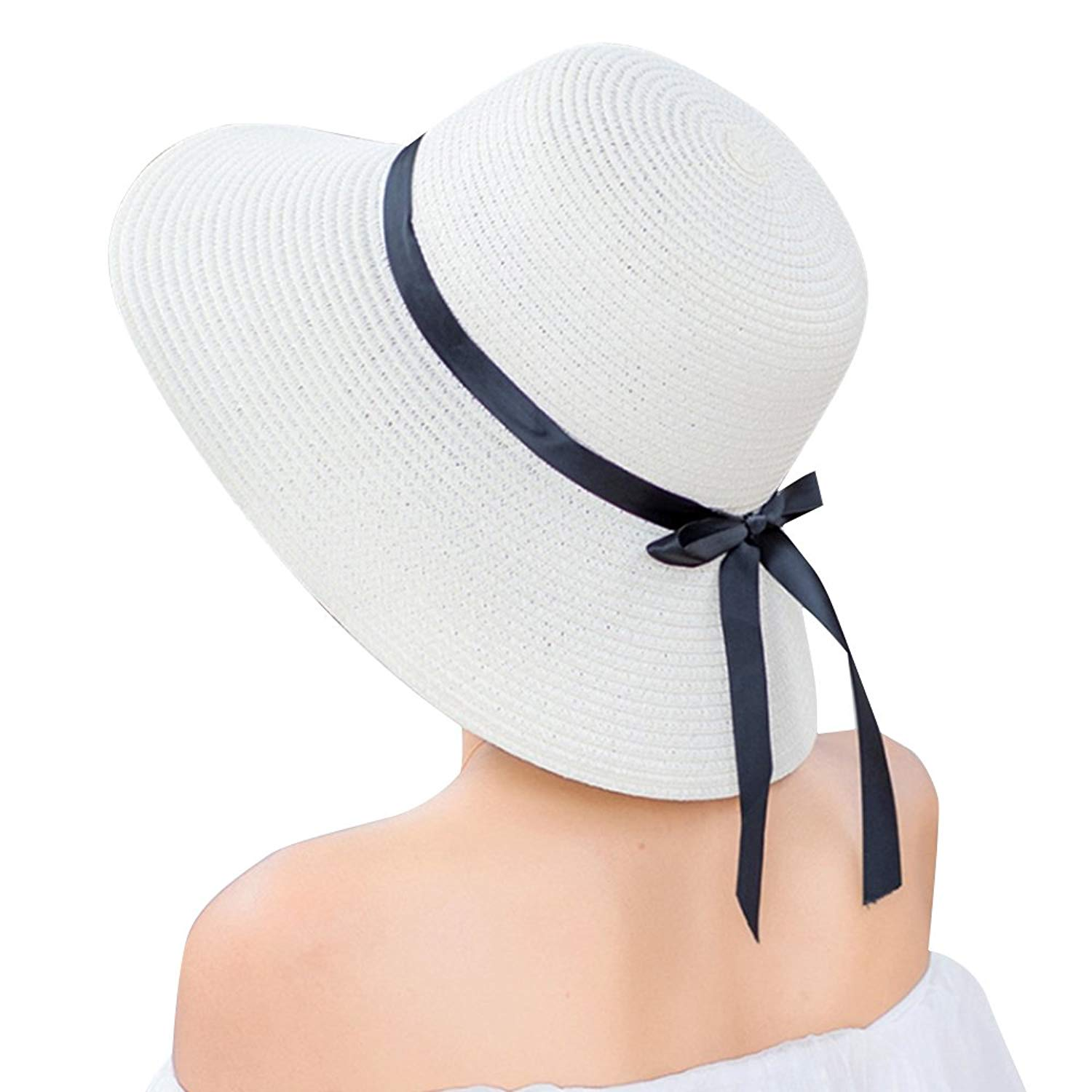 9affd9fb239 Get Quotations · Pevor Women s Summer Big Brim Packable Floppy Sun Hat  Foldable Straw Hat Fedora Travel Beach Hat