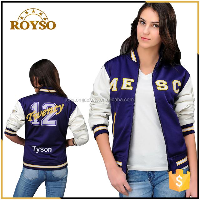 Mytest Custom Embroidered Lady Purple Winter Jacket Bomber Jacket