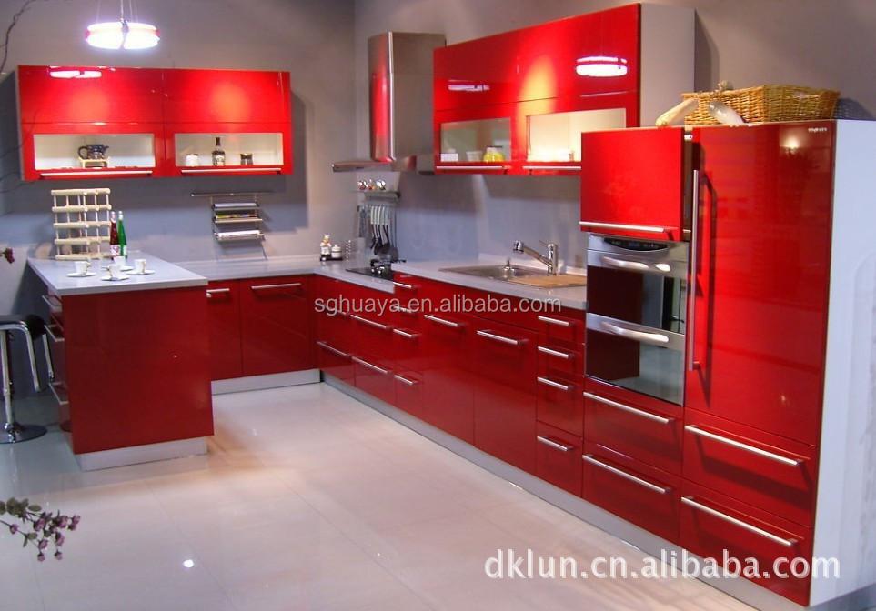 Harga Pabrik Modern Lacquer Finish Dapur Kabinet Dengan Warna Merah