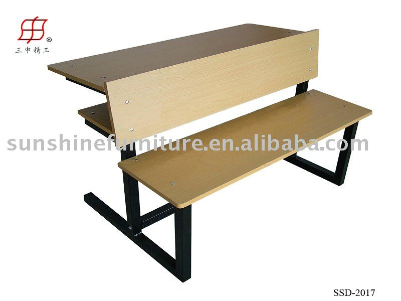 College School Indoor Wooden Students Desk Bench