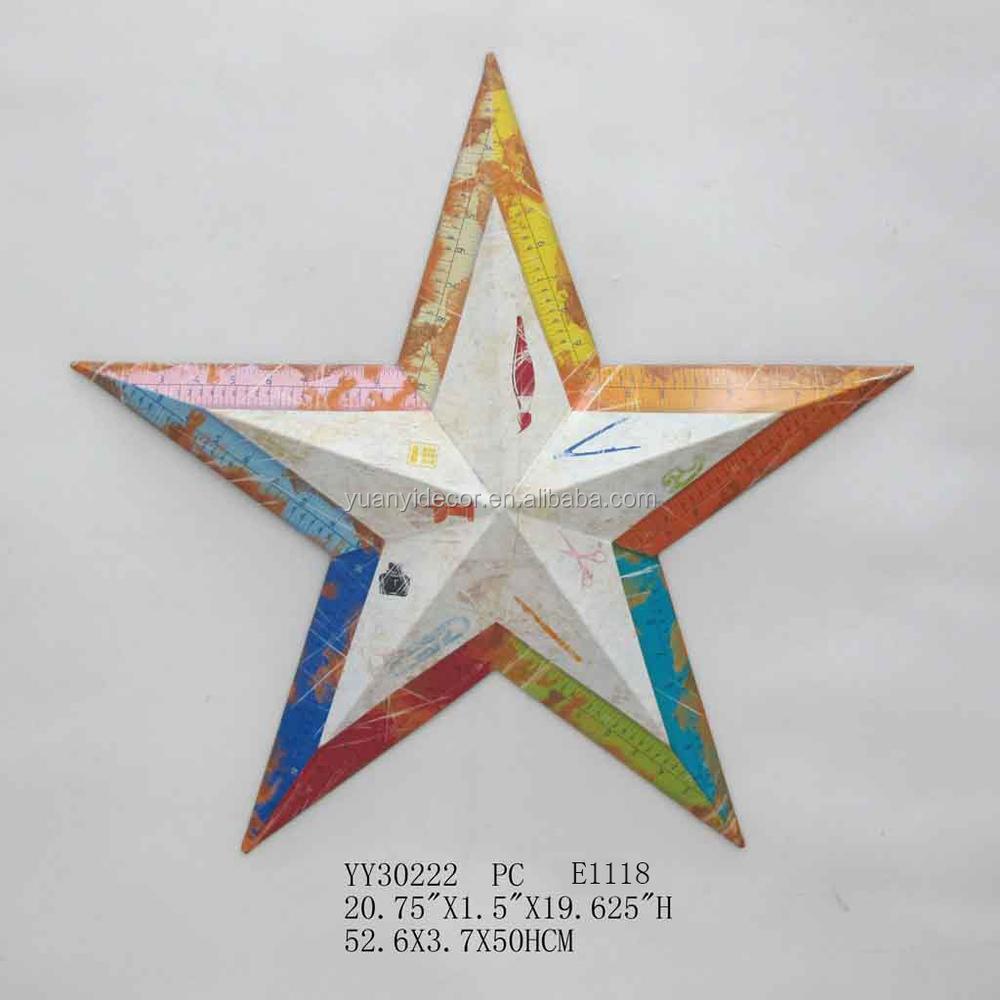 us flag design metal five star wall arts for home decor: metal star wall decor