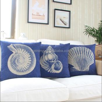 Blue Line Cushion Cover Sea Shell Design Cushion Cover Chevron Sofa Cushion  Covers