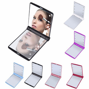 Folding Portable Compact Pocket 8 LED Lights Turn ON/OFF Makeup Mirror with Magnifying Features