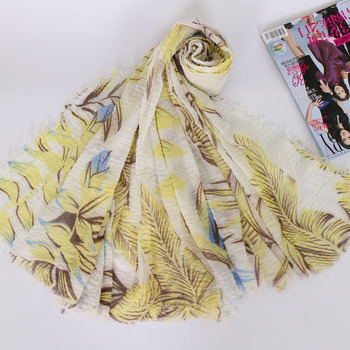 Yiwu Jiaren factory wholesale supply crinkle printed hijab islamic long scarf dress and shawl