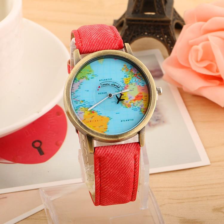 2015 Mini World Map Watch Jean Fabric Vogue Child Lady Leather Watch ...