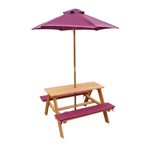 Awe Inspiring Outdoor Low Wooden Children Picnic Table With Umbrella Download Free Architecture Designs Scobabritishbridgeorg