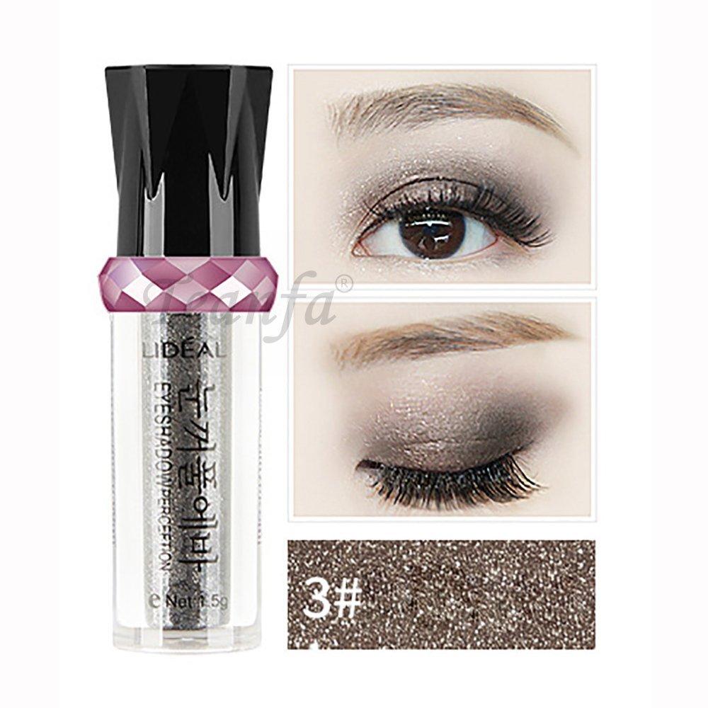 950dd5eb488 Get Quotations · Teanfa Metal Shimmer Color Eyeshadow,Roller Eyeshadow  Glitter Pigment Bright Eye Shadow Cosmetic Ultra Brilliant