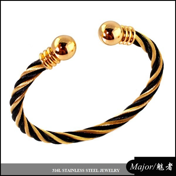 two tone gold plated zebra cable chain bangle of stainless steel jewelry