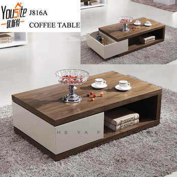 Wooden veneer adjustable center table design buy for Center table design for sofa