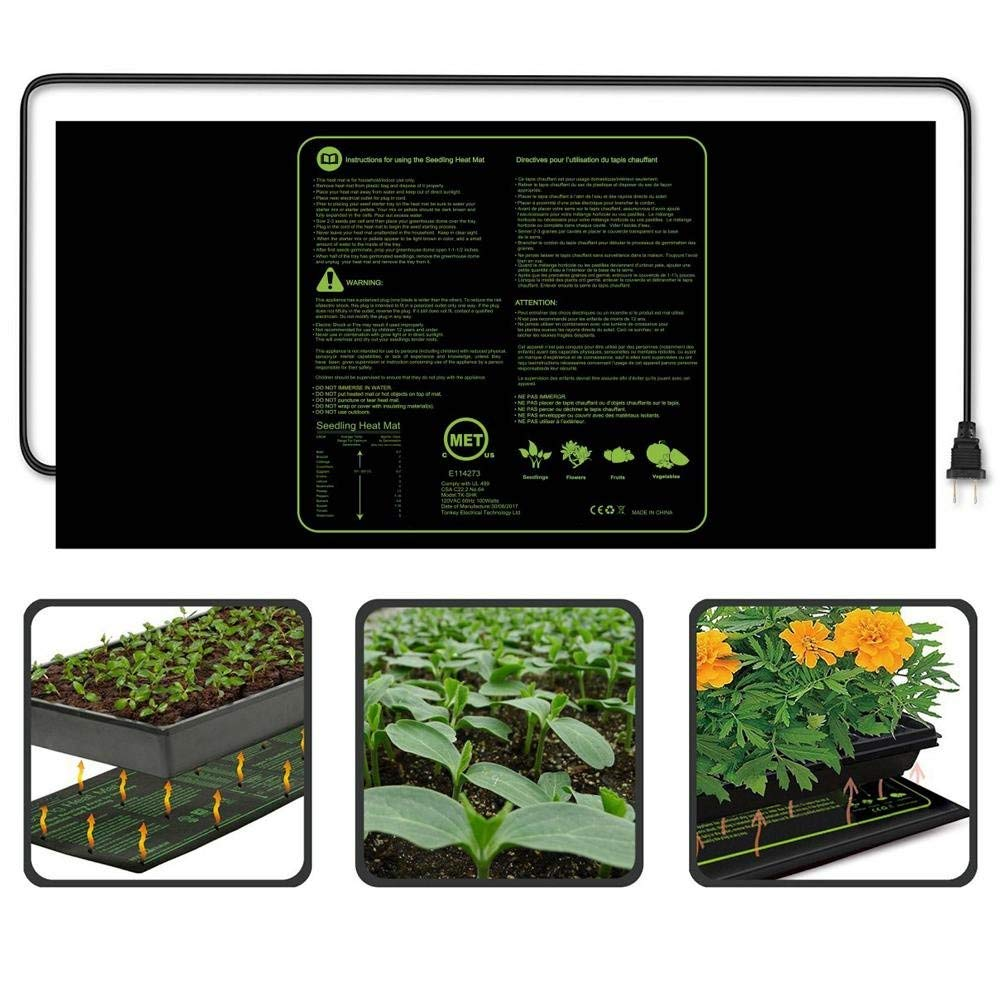 "Aolvo Seedling Heating Mat, IP67 Waterproof 48"" X 20"" Germination Station/Hydroponic Heating Pad/Reptile Heating Mat/Beer Brewing Heat Mat/Fermentation, Seedlings & Plant Germination"