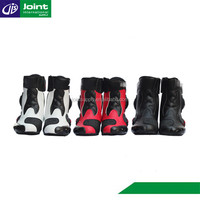 waterproof leather red motorcycle shoes motorbike riding racing boots for women