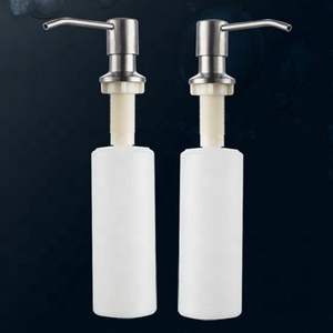 plastic and stainless steel kitchen sink soap dispenser