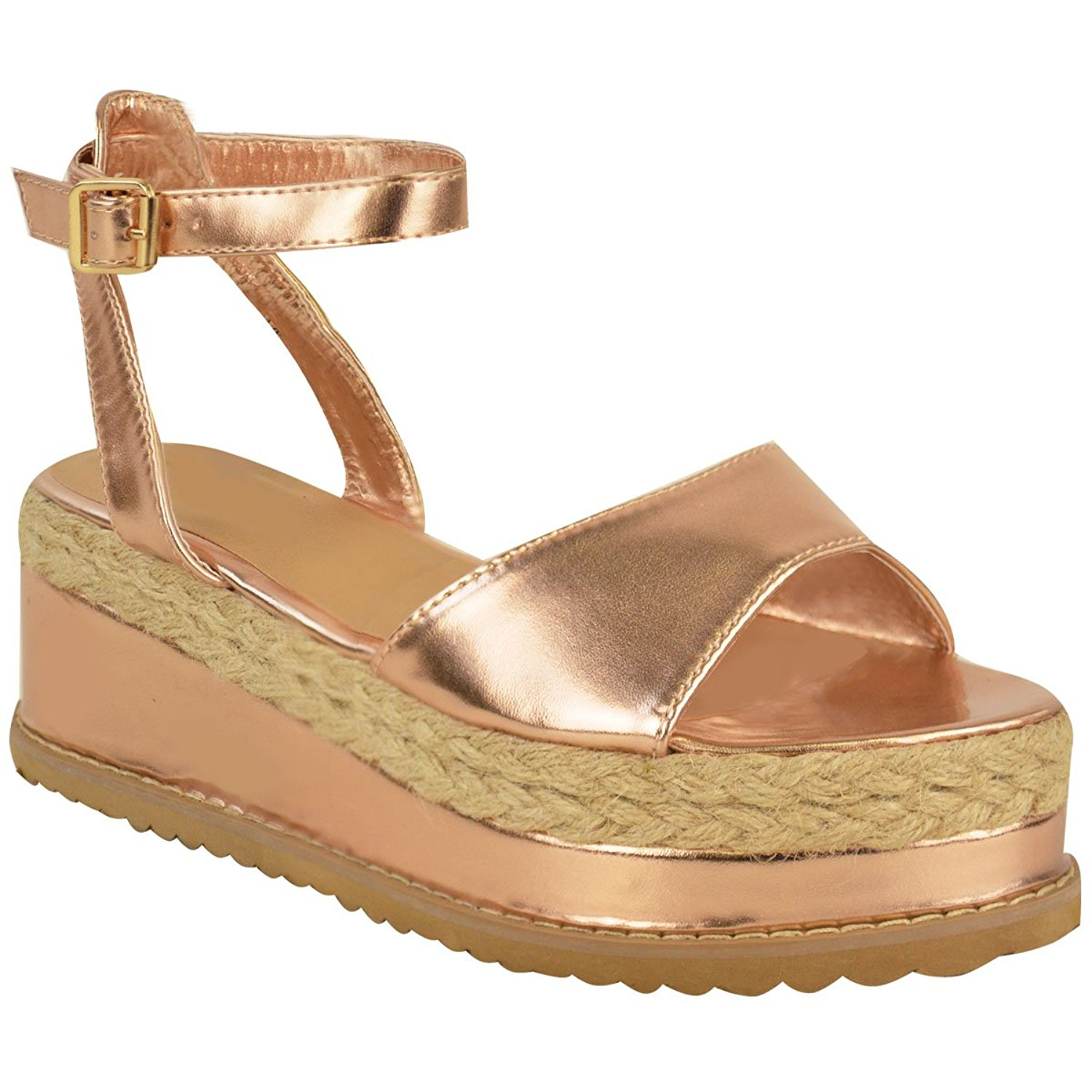 835033ad767b Get Quotations · Fashion Thirsty Womens Chunky Espadrille Strappy Sandals  Flatform Wedge Shoes Size