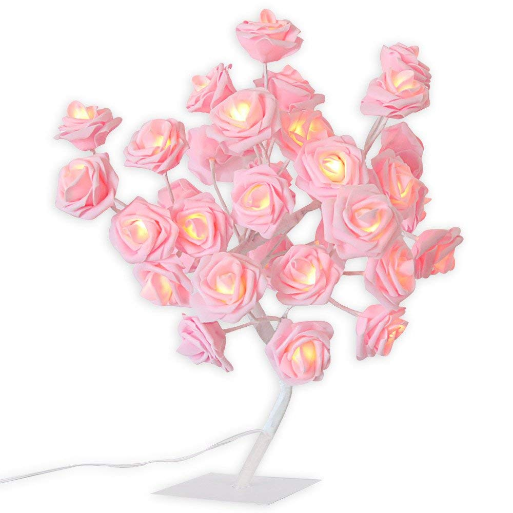 [Ship from US] 24 LED Pink Rose Tree Table Desk Lamp Pink Girls Lamp Bedside Lamp USB Battery Operated Romantic Flower Rose Fairy Light Lamp for Valentine's Day/Wedding/Festival Party Decor (Pink)