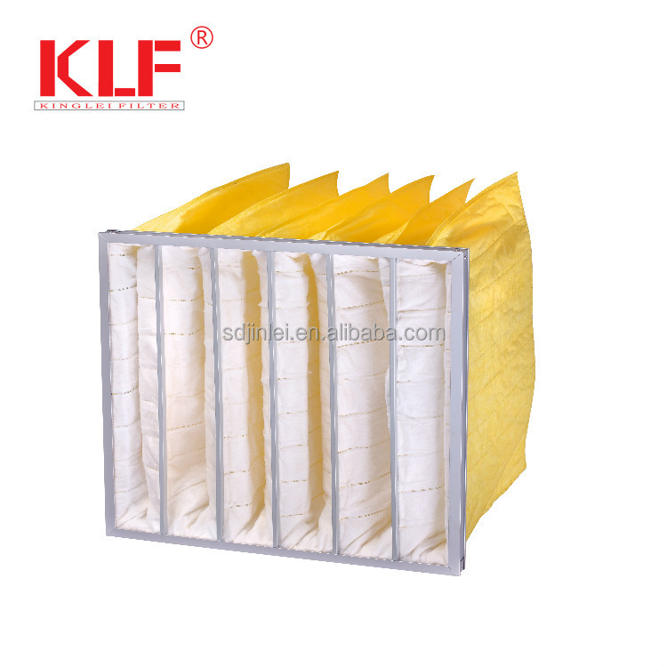Air conditioning replacement dust non-woven media pocket pleated air ahu bag filter