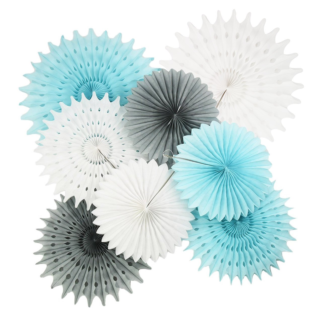 Baby Blue White Grey Baby Boy Baby Shower Decorations/Party Decorations First Birthday Boy Decorations Tissue Pom Pom Flower 8pcs Tissue Paper Fan for Baby Shower Decorations Boy