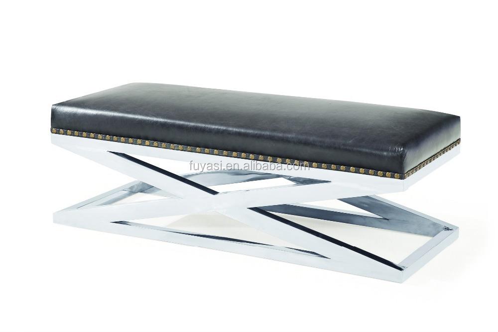 Abaca mobili sgabello in pelle del piede in acciaio inox base per