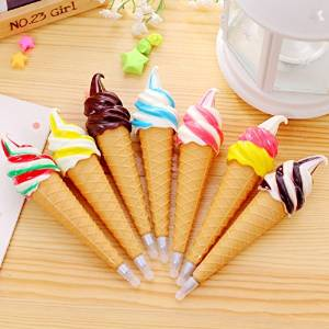 10 Pcs/ Simulation Ice Cream Black Ink Ball Point Roller ball Pen with Fridge Magnet Ballpoint Stationery Office