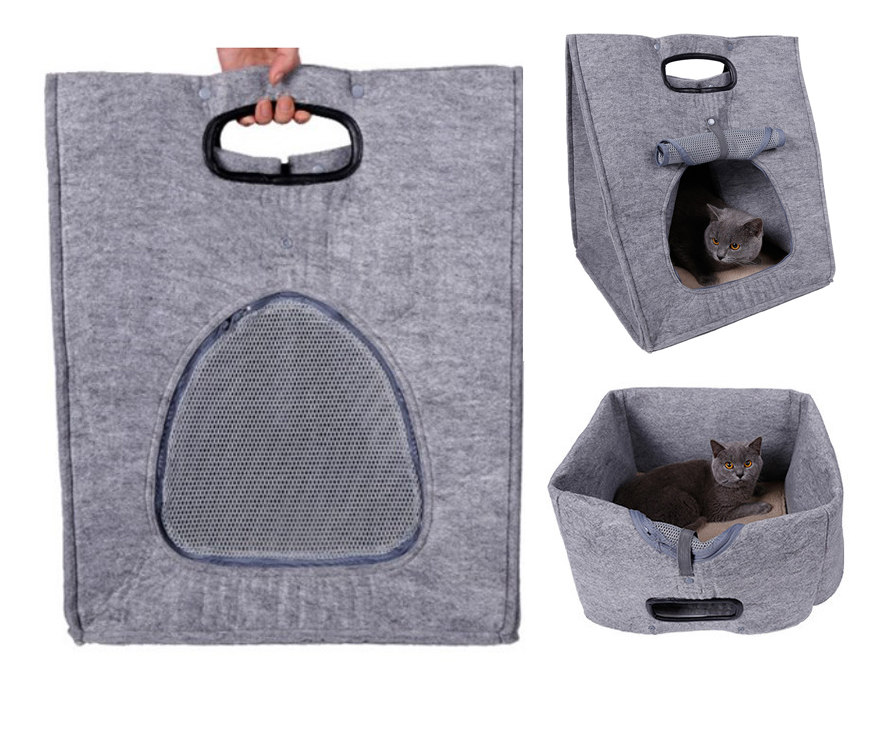 PHS051 Felt material foldable cat bed,portable cat cave