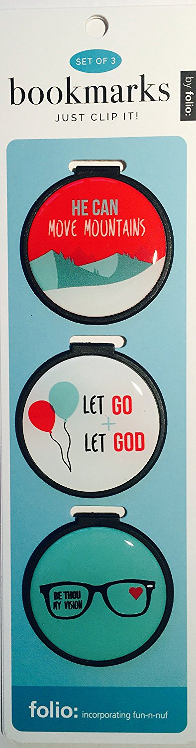 Just Clip it! Quote Bookmarks - (Set of 3 clip over the page markers) - HE Can MOVE Mountains, LET GO, BE Thou my VISION