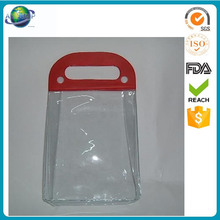 Recycling plastic clear pvc cosmetic bag with snap button